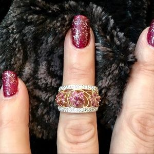 Jewelry - Pink Sapphire & Diamond 14K Flower Ring NWOT
